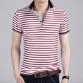 Новый Корейский мужской Хлопок Лацкан Полоса Короткими рукавами Рубашки Поло Тонкий Весеннее Половодье Молодежи 2016 Весной и Летом горячий Стиль