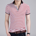 New Korean Men's Cotton Lapel Stripe Short-sleeved Polo Shirt Slim Spring Tide Youth 2016 Spring and Summer Hot Style