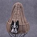 Cute Dog Patch Knitted Hat Fashion Skullies Beanies for Women Girls Outdoor Sports Cap bone Knit Hip Hop Cap Winter Beanie Hat