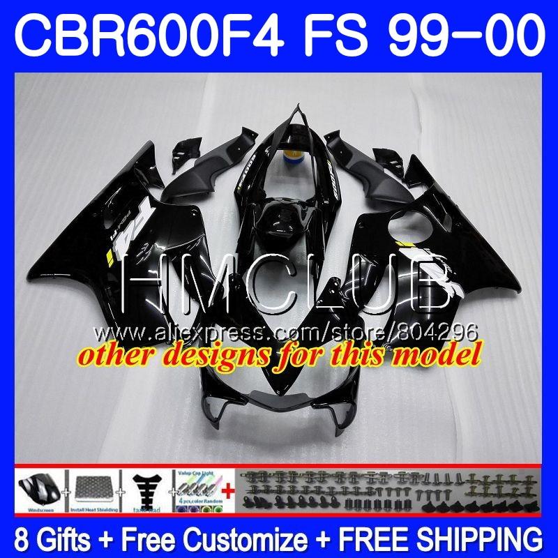 RR carroçaria Para HONDA CBR600F4 CBR600 F 4 CBR600 F4 99 00 60HM17 600F4 CBR CBR 600 FS Hot branco CBR 600 F4 blk 1999 Fairing 2000 - 6
