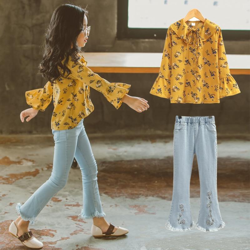 Automne mode filles Costumes 2 pièces ensemble de vêtements coréen mignon tenue adolescents vêtements d'école pour Age56789 10 11 12 13 14 ans