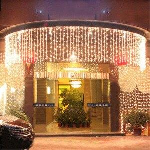 Image 4 - NEW 10 x 1M 448 LED Outdoor Curtain String Light Christmas Xmas Party Fairy Wedding LED Curtain Light 220v 110v US AU EU Plug