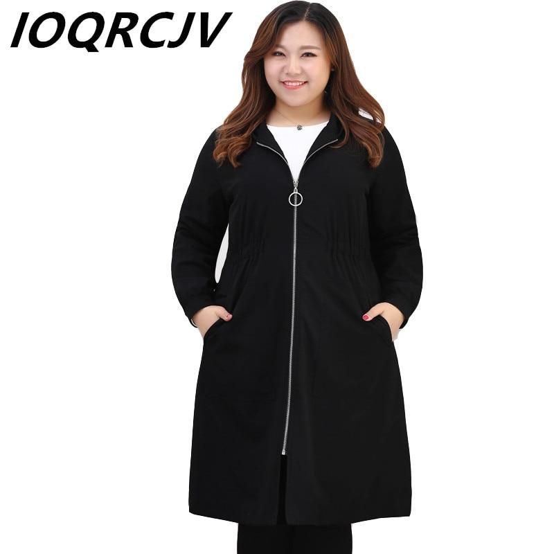 Plus size 4XL-10XL Women   Trench   Coat Spring Autumn Hooded Zipper Pocket Solid Long Coat Female Windbreaker Casual Black Outwear