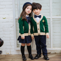 Kindergarten autumn winter boys and girls British knit cardigan class service aristocratic college wind primary school uniforms