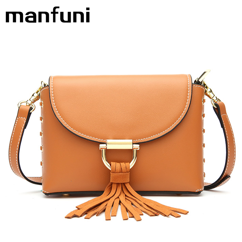 MANFUNI Genuine Leather Small Handbags Tassel leather Shoulder Bags Female Real First Layer Cow Leather Messenger Bags zency genuine leather small women shoulder tassel bags tote handbags first layer cow leather ladies messenger bag satchel