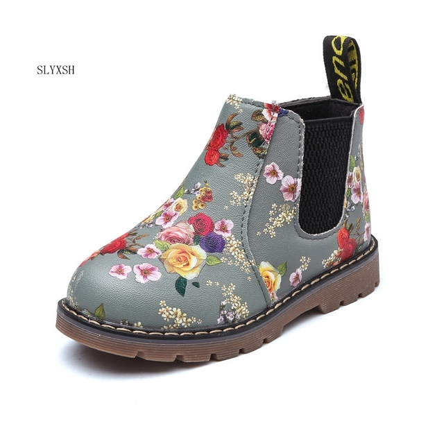 34ed4c97a Kids Ankle Boots Girls Boys Floral Flower Print Chelsea Boots Girls ...
