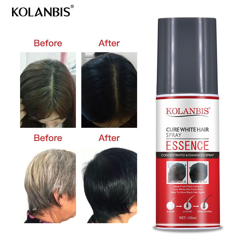organic black hair care product hair shampoo and cure white hair oil spray set for anti gray hair treatment no side effect 3