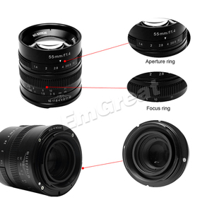 Image 5 - 7 אומנים 55mm F1.4 גדול צמצם דיוקן פוקוס ידני מיקרו מצלמה עדשת Fit עבור Canon EOS M הר E הר פוג י FX כמות