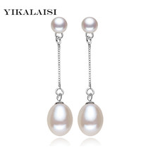 2017 new 100% genuine Natural long earrings fashion jewelry for Women 925 sterling silver pearl Jewelry double earrings gifts(China)