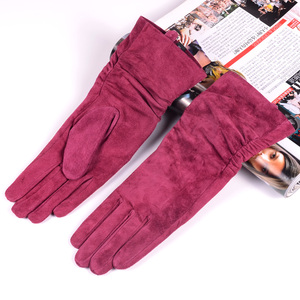 "Image 3 - 28cm 11"" Womens Ladies Genuine leather Suede Leather Middle long Folded gloves Party Evening gloves"