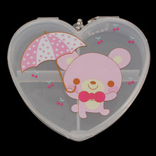 4 cells Transparent Jewelry Cute Heart Storage Box Ring Earring Drug Pill Beads Portable Plastic Organizer Case Travel Bins(China)