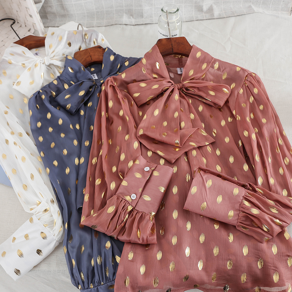 Spring New Women Long Sleeves Print Polka Dot Bowknot Neck   Blouse     Shirt   Ladies Urban Single-breasted Tops   Blouse   Suits