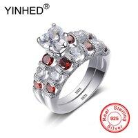 YINHED романтическое сердце набор парных колец подлинное серебро 925 пробы Красный Белый AAA Циркон CZ свадебные кольца для женщин подарок ZR522
