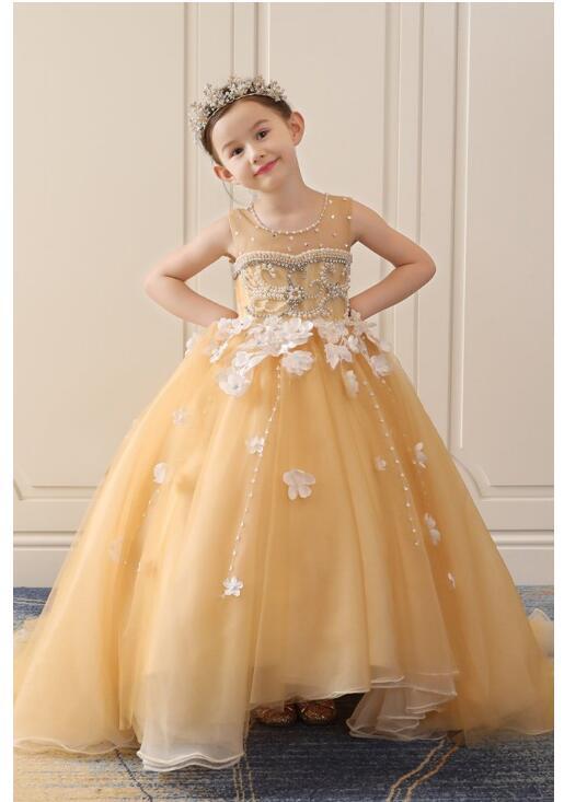 Girl's Wedding Formal Dresses 2018 Luxury Pearl Diamond Tailing Gauze Gowns Flowers Girls Princess Dress Kids Prom Dress Gold цены онлайн