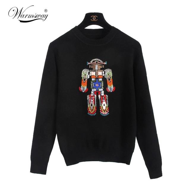 2016 зима весна дизайнер женские свитера трикотажные топ красочные бисероплетение робот pattern мода марка свитер WS-098