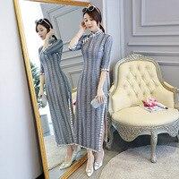 New Women Lace Qipao Mandarin Collar Handmade Button Long Cheongsam Novelty Chinese Formal Dress Size S