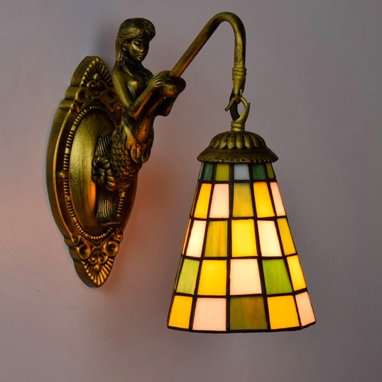tiffany fashion European style wall lamp Baroque Bohemia Mermaid mirror light fashion rustic bed-lighting lamps fashion tiffany mediterranean mermaid mirror light fashion rustic wall lamp bed lamps