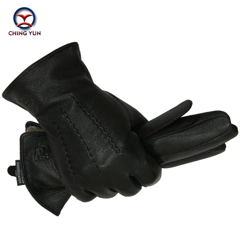 Gloves Deer Skin Rabbit-Hair Sewing-Design Winter Mittens Warm Lining-07 Black Male Soft