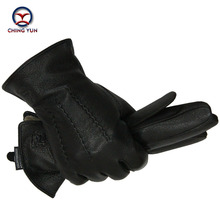 2019 Winter men deer skin leather gloves male warm soft black sewing design men mittens imitate rabbit hair 70% wool lining-07