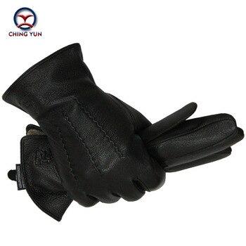 2019 Winter men deer skin leather gloves male warm soft black sewing design mittens imitate rabbit hair 70% wool lining-07 - discount item  36% OFF Gloves & Mittens
