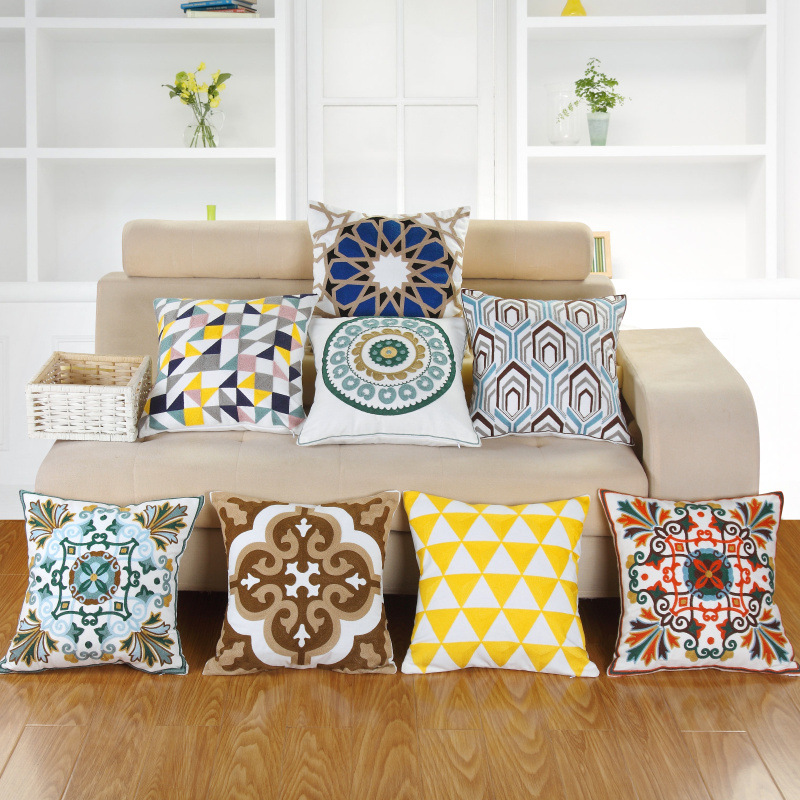 Cotton Square Embroidery Pillowcase 45*45cm Car Home Textile Decorative Bohemian Cushion Cover Cojines Decorativos Para Sofa