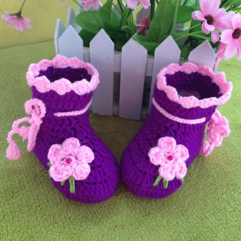 66bc0add4c Newborn flower first walkers Baby Shoes Infants Crochet Knit Fleece Boots  Toddler Girl Boy Wool Snow Crib Shoes Winter Booties-in First Walkers from  ...