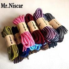 Mr.Niscar 1 par botas de moda cordones de poliéster redondo al aire libre ocasionales cordones de los zapatos de deporte redondo doble cadena de cordones a rayas