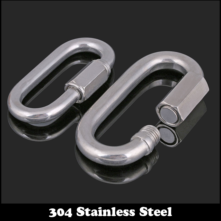 M3.5 M4 M5 M6 M8 M10 M12 304 Stainless Steel Safety Carabiner Climbing Lock Quick Link Backpack Shackle Hook Clasp Chain Buckle 1pc m5 304 stainless steel chain ratchet tie fasten bolts hook