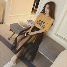 2017 Fashion Short Sleeves Women Sets T-Shirt And Lace Dress Set Strapless Letters Print Female Two Piece Suit Wholesales