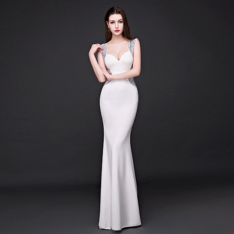 Manches 2017 Sans Mince Soirée Bal Bleu Party Club Maxi blanc Sirène Robe Élastique Robes Sexy Élégant Long D'été Femmes De Nwkn0OXZ8P