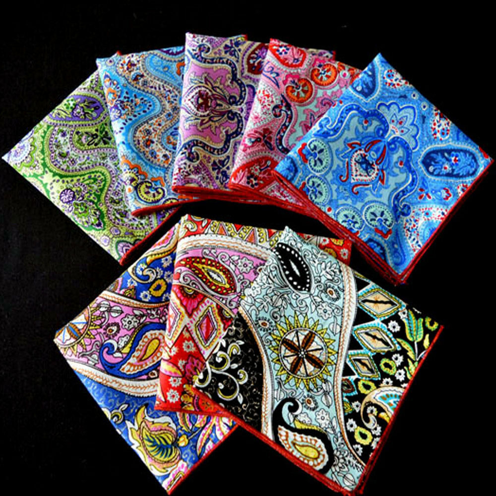Men's Paisley Flower Cotton Pocket Square Handkerchief Wedding Party Hanky YXTIE0502