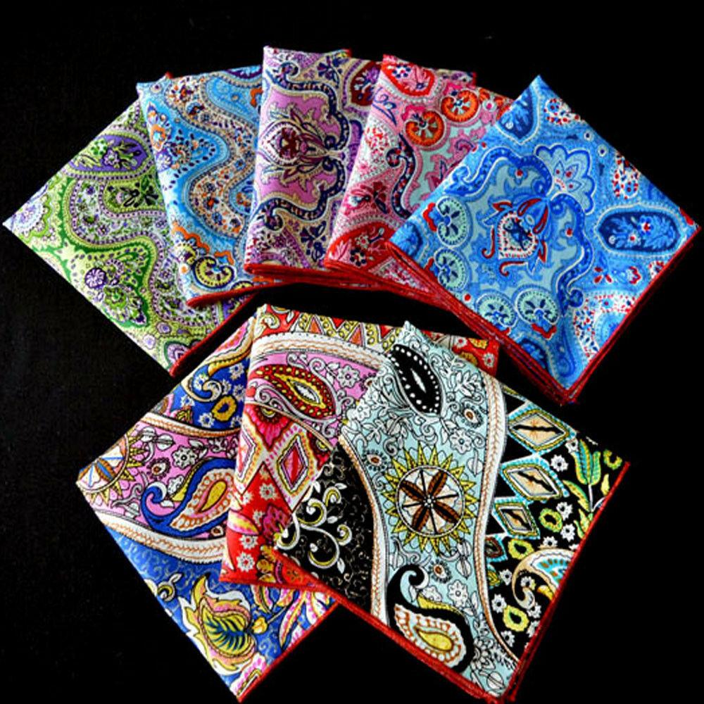 Men's Paisley Flower Cotton Pocket Square Handkerchief Wedding Party Hanky YXTIE0502