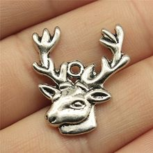 Deer Head With Antlers Pendant Charms Diy Jewelry Making Jewelry Finding 10pcs Antique Silver Color 1x0.9 inch (25x23mm)(China)