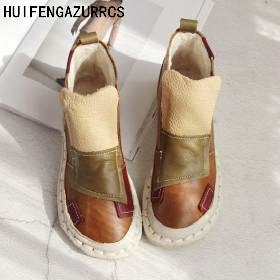 HUIFENGAZURRCS Pure handmade boots Martin boots candy color ultra soft leather strap flat boots tide all