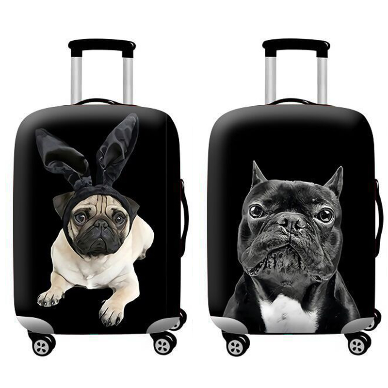 Travel Accessories Luggage Cover Suitcase Protection Set Baggage Dust Cover Trunk Set Trolley Case Elasticity Bulldog Pattern