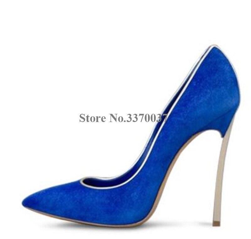 Marque Design femmes bout pointu métal talon aiguille pompes sans lacet blanc bleu rose talons hauts chaussures habillées chaussures de mariage - 6