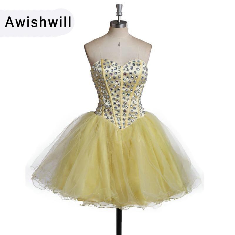 Robe de bal courte pas cher couleur jaune perles strass personnalisé grande taille robe de soirée robe de Gala Vestido de Festa Curto