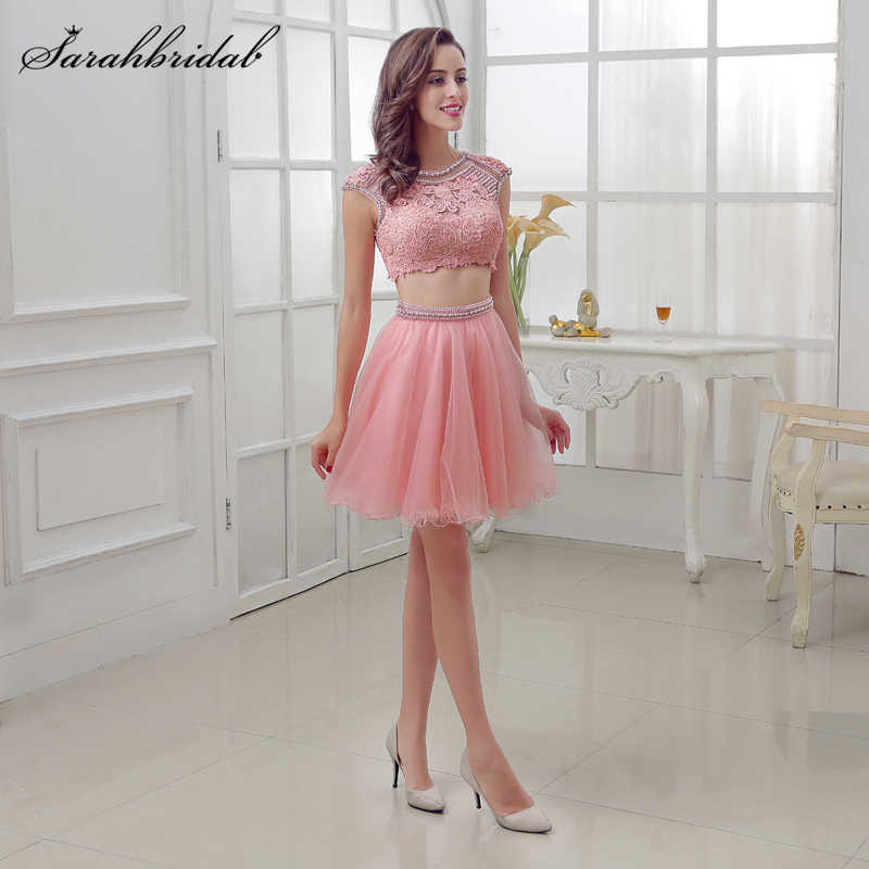 075871890dce Sweety Homecoming Short Dresses Tulle Beading Crystal Two Pieces Party  Cocktail Dresses 8th grade formal dresses