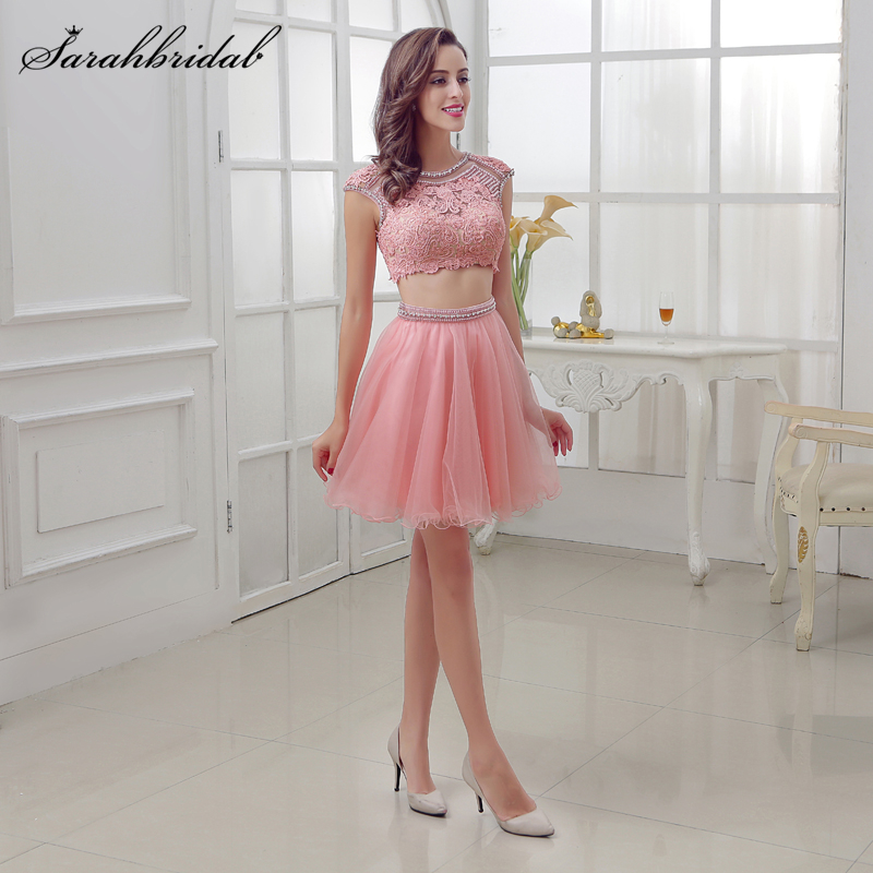Sweety Homecoming Short Dresses Tulle Pink Beading Crystal Two Pieces Lace Beading Party Cocktail 8th Grade Formal Gown LSX308 фото