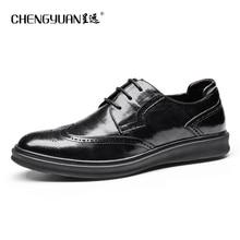 Men genuine leather shoes mens business  black men party wedding dress shoe lace up Leather Shoes C9600