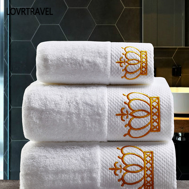 Embroidered Imperial Crown Cotton White Hotel Towel Set Face Towels Bath Towels For Adults Washcloths Absorbent Hand Towel