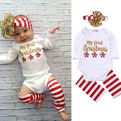 цены  3pcs!!Newborn Kids Baby Boy Girls Christmas Infant Striped Sequin Jumpsuit Bodysuit+Leg Warmer+Headband Clothes Outfit 0-18M