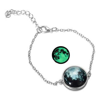 DIEZI Glow In The Dark Glass Cabochon Gray Moon Luminous Jewelry Silver Chain Link Bracelets 5