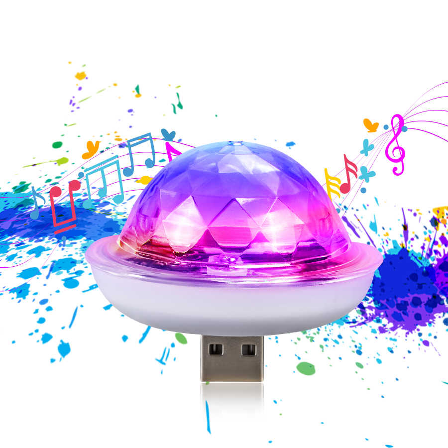 Handy USB LED Bühne Licht Mit Musik Sensor Tragbare 5V RGB Kristall Magic Ball LED Bühne DJ Disco lampe Home Club Party
