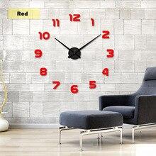 2018  Free Shipping New Clock Watch Wall Clocks Horloge 3d Diy Acrylic Mirror Stickers Home Decoration Living Room Quartz Needle