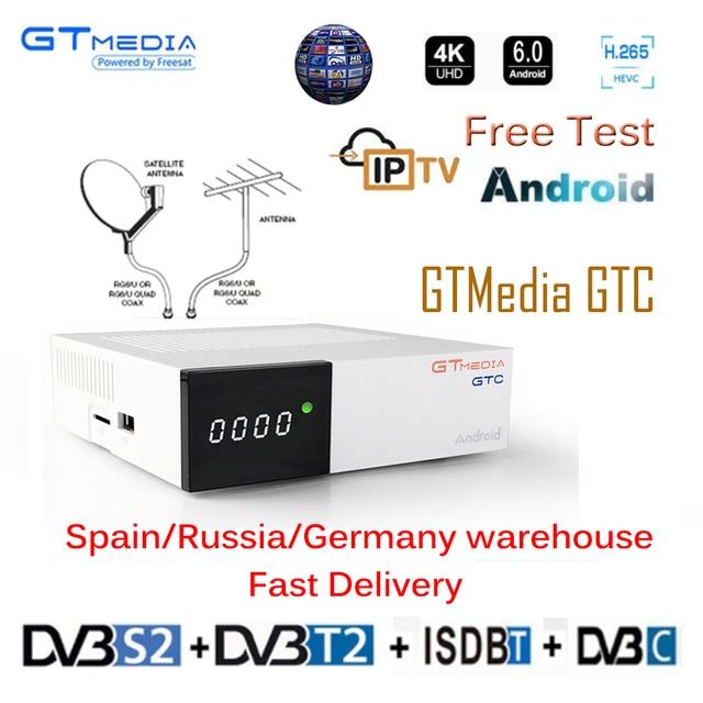 Freesat GTC приемное устройство DVB-S2 DVB-C DVB-T2 Amlogic S905D android 6,0 ТВ контейнер под элемент питания 2 Гб оперативной памяти, 16 Гб встроенной памяти + 1 год cccam спутниковый ТВ телевизор