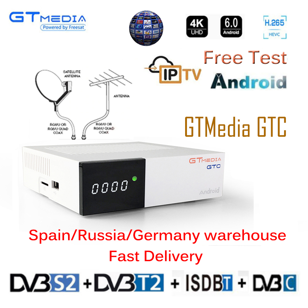Freesat GTC Recettore DVB-S2 DVB-C DVB-T2 Amlogic S905D android 6.0 TV BOX 2 GB 16 GB + 1 Anno cccam TV satellitare Ricevitore TV Box