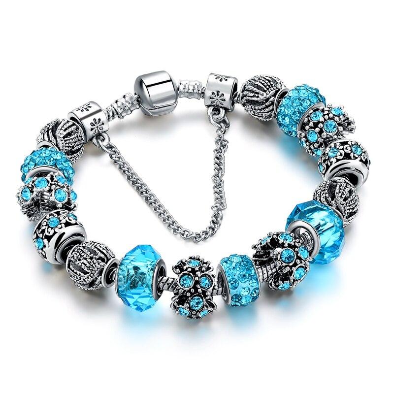 Fashion Femmes 925 Plaqué Argent Creux Perles Bracelet Chaîne Charme Bracelet Bijoux