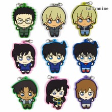 Detective Conan Case Closed Rubber pendant Japanese comic anime Action Toy Figures Mobile Phone Accessories strap Keychain