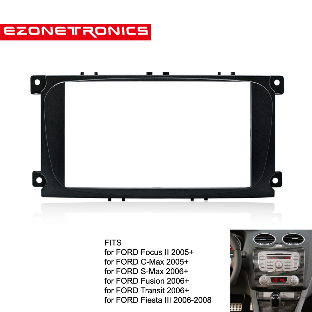 2din auto DVD radio rahmen Für Ford Focus II C-Max S-Max Fusion Panel Dash Mount Doppel din Fascia Installieren Kit Refit Rahmen schwarz